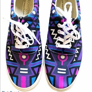 Bucket Feet Aztec print lace up canvas sneakers 8